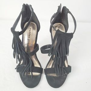 Madden Girl Black Suede Leather Fringe Heels Sz 6